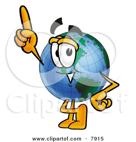 Clipart Picture of a World Earth Globe Mascot Cartoon Character Pointing Upwards by Toons4Biz
