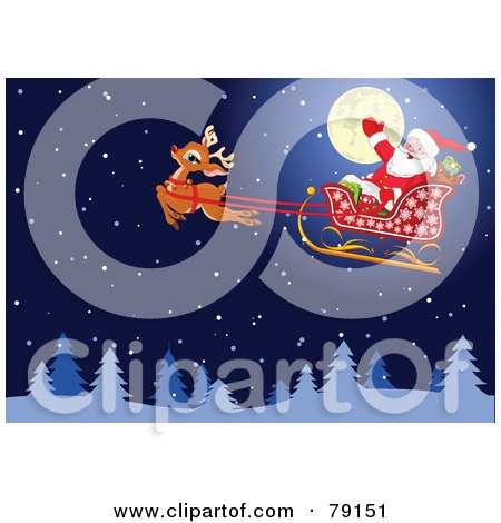 Royalty-Free (RF) Clipart Illustration of Santa Waving And Riding In His Sled In Front Of A Full Moon, Rudolph In Front In A Snowy Night Sky by Pushkin