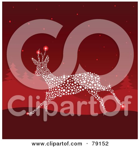 Royalty-Free (RF) Clipart Illustration of a Magical Starry Sparkly Reindeer Running In A Red Winter Landscape by Pushkin