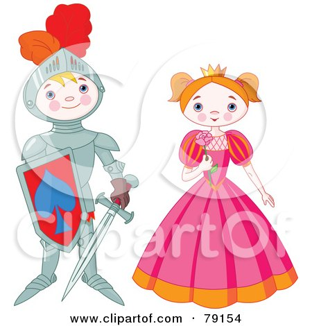 Royalty-Free (RF) Clipart Illustration of a Proud Knight Boy Standing By A Pretty Princess by Pushkin