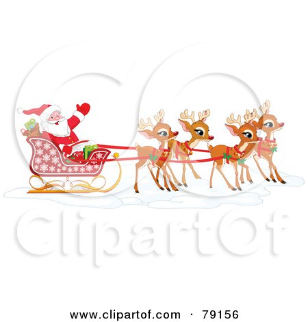 Royalty-Free (RF) Clipart Illustration of a Team Of Adorable Christmas Reindeer Pulling Santa In His Sleigh by Pushkin