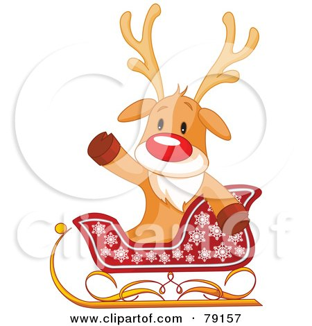 Royalty-Free (RF) Clipart Illustration of a Cute Rudolph The Red Nosed Reindeer Sitting In A Sleigh And Waving by Pushkin