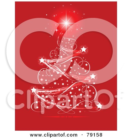 Royalty-Free (RF) Clipart Illustration of a Starry Ribbon Magical Christmas Tree Over Red by Pushkin