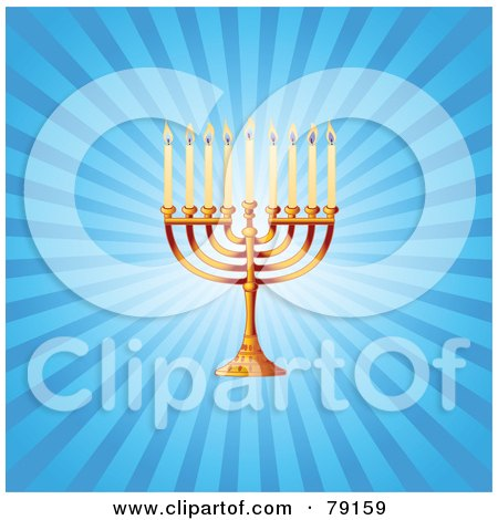 Royalty-Free (RF) Clipart Illustration of a Gold Hanukkah Hanukkiya Menorah On A Blue Shining Background by Pushkin