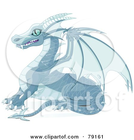 Blue Ice Dragon With Sharp Wings And Teeth Posters, Art Prints