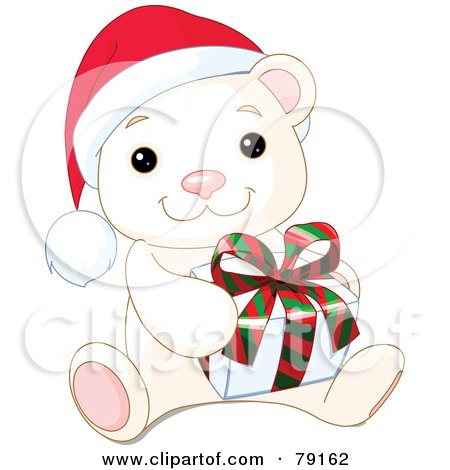 Royalty-Free (RF) Clipart Illustration of an Adorable Baby Polar Bear Wearing A Santa Hat And Holding A Christmas Gift by Pushkin
