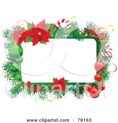 Christmas Text Box Trimmed In Branches, Baubles, Candy Canes And Poinsettias Posters, Art Prints