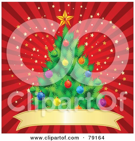 Royalty-Free (RF) Clipart Illustration of a Trimmed Christmas Tree Over A Red Banner On A Red Starry Burst Background by Pushkin