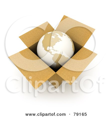 Royalty-Free (RF) Clipart Illustration of a 3d World Globe Resting In A Cardboard Box by Frank Boston