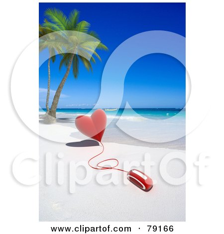 Royalty-Free (RF) Clipart Illustration of a 3d Computer Mouse Attached To A Red Heart On A Tropical Beach by Frank Boston