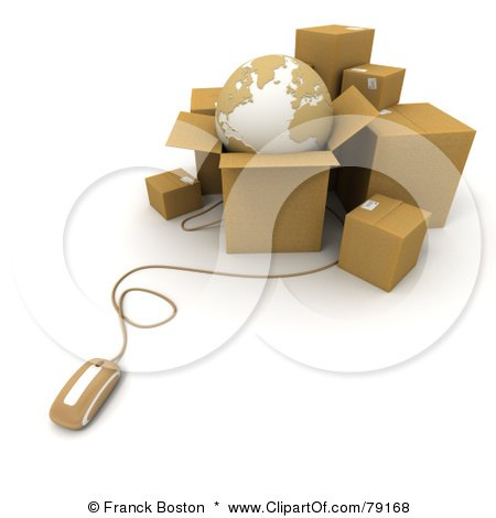 Royalty-Free (RF) Clipart Illustration of a 3d Computer Mouse Connected To Shipping Boxes And A Globe - Version 2 by Frank Boston