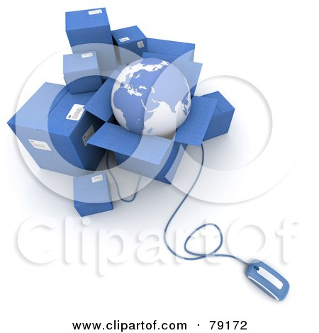 Royalty-Free (RF) Clipart Illustration of a 3d Computer Mouse Connected To Blue Shipping Boxes And A Globe - Version 1 by Frank Boston