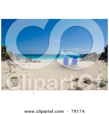 Royalty-Free (RF) Clipart Illustration of a Pair Of Blue Beach Chairs Under A 3d Parasol On A Tropical Beach by Frank Boston