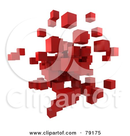 Royalty-Free (RF) Clipart Illustration of a 3d Red Cubic Floating Cluster - Version 1 by Frank Boston