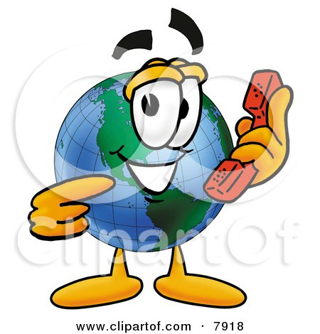Clipart Picture of a World Earth Globe Mascot Cartoon Character Holding a Telephone by Toons4Biz