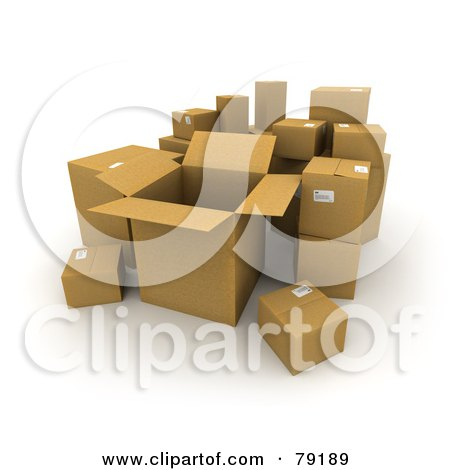 Royalty-Free (RF) Clipart Illustration of a Group Of Opened And Sealed 3d Cardboard Shipping Boxes - Version 3 by Frank Boston