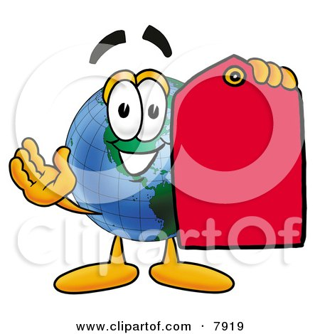 Clipart Picture of a World Earth Globe Mascot Cartoon Character Holding a Red Sales Price Tag by Toons4Biz
