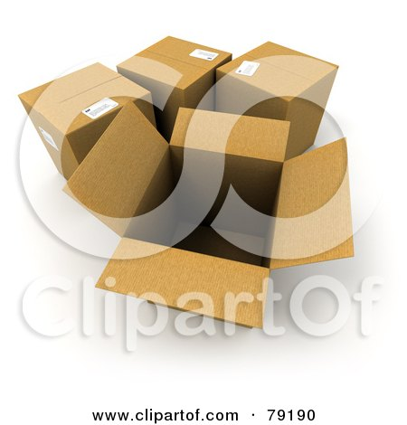 Royalty-Free (RF) Clipart Illustration of a Group Of Opened And Sealed 3d Cardboard Shipping Boxes - Version 2 by Frank Boston