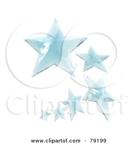 Royalty-Free (RF) Clipart Illustration of a Curving Line Of Ice 3d Stars by Frank Boston