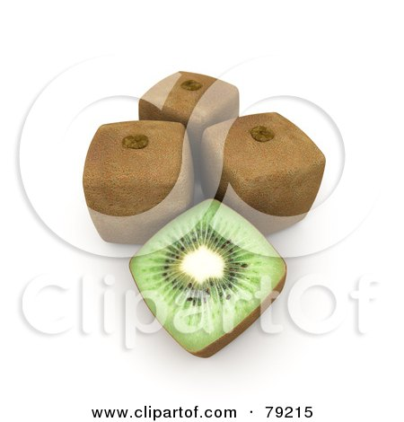 Royalty-Free (RF) Clipart Illustration ofa 3d Half Cubic Genetically Modified Kiwi By Whole Fruits by Frank Boston