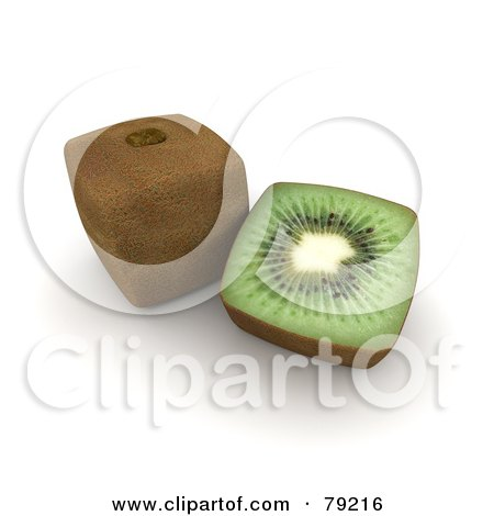 3d Half Cubic Genetically Modified Kiwi By A Whole Fruit Posters, Art Prints