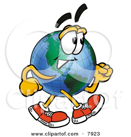 Clipart Picture of a World Earth Globe Mascot Cartoon Character Speed Walking by Toons4Biz
