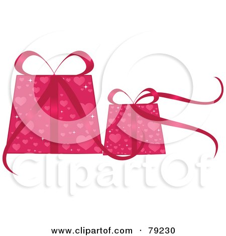 Royalty-Free (RF) Clipart Illustration of Two Pink Sparkling Christmas Or Valentines Day Gifts With Pink Heart Wrapping Paper by Melisende Vector