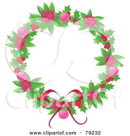 Feminine Pink Rose, Holly Berry And Pink Bauble Christmas Wreath Posters, Art Prints
