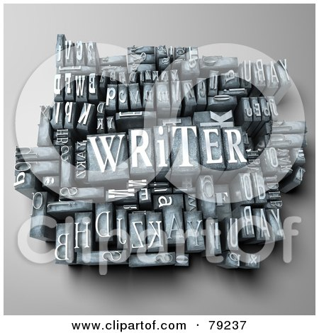 Royalty-Free (RF) Clipart Illustration of a 3d Group Of Typeset Blocks With WRITER In The Center - Version 1 by Franck Boston