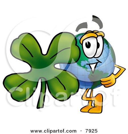 Clipart Picture of a World Earth Globe Mascot Cartoon Character With a Green Four Leaf Clover on St Paddy's or St Patricks Day by Toons4Biz