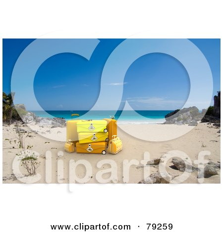 Royalty-Free (RF) Clipart Illustration of 3d Stacked Yellow Luggage On A Tropical Beach by Frank Boston