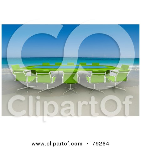 Royalty-Free (RF) Clipart Illustration of a Green 3d Conference Table On A Tropical Beach by Frank Boston