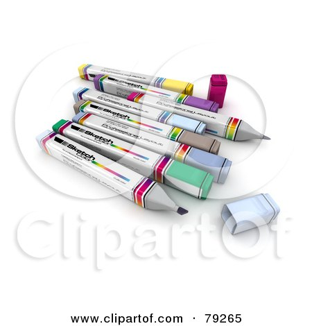 Royalty-Free (RF) Clipart Illustration of a Group Of Felt Tip 3d Markers - Version 2 by Frank Boston