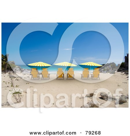 Royalty-Free (RF) Clipart Illustration of Yellow 3d Shaded Beach Chairs On A Tropical Beach by Frank Boston