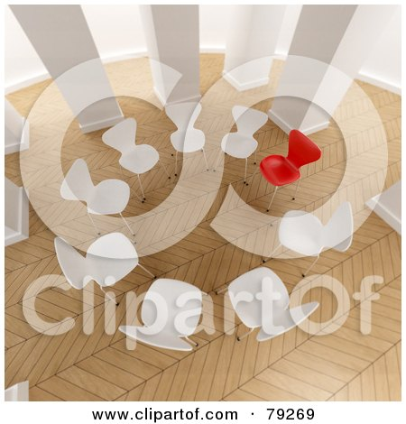 Royalty-Free (RF) Clipart Illustration of a 3d Group Of White Chairs, With One Red Chair, In A Room With Parquet Flooring by Frank Boston