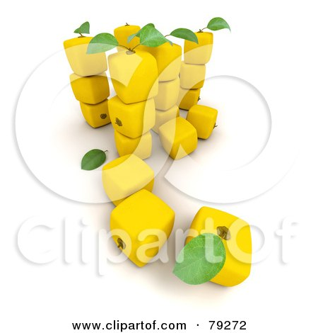 Royalty-Free (RF) Clipart Illustration of a 3d Row Of Round Lemons ...