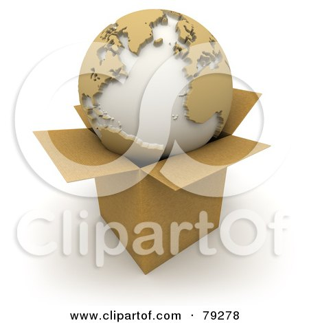 Royalty-Free (RF) Clipart Illustration of a 3d World Globe Resting On A Small Cardboard Box by Frank Boston