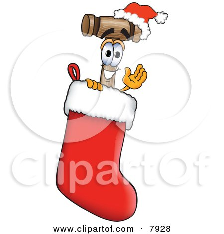 Clipart Picture of a Mallet Mascot Cartoon Character Wearing a Santa Hat Inside a Red Christmas Stocking by Toons4Biz