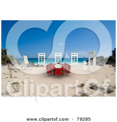 Royalty-Free (RF) Clipart Illustration of a Red 3d Conference Table And Windows On A Tropical Beach by Frank Boston