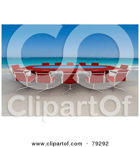 Royalty-Free (RF) Clipart Illustration of a Red 3d Conference Table On A Tropical Beach by Frank Boston