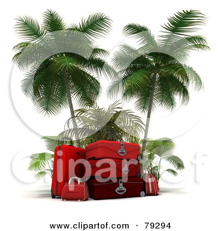 Royalty-Free (RF) Clipart Illustration of a Stack Of 3d Red Luggage Under Palm Trees by Frank Boston