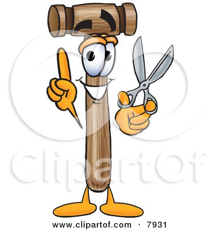 Clipart Picture of a Mallet Mascot Cartoon Character Holding a Pair of Scissors by Toons4Biz