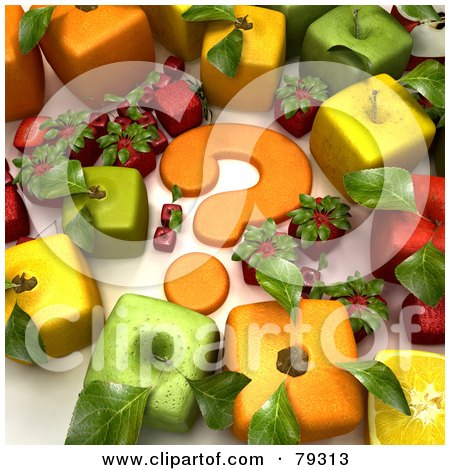 Royalty-Free (RF) Clipart Illustration of a Group Of 3d Cubic Genetically Modified Fruits Around An Orange Question Mark - Version 2 by Frank Boston