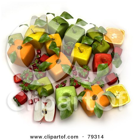 Royalty-Free (RF) Clipart Illustration of a 3d Group Of Cubic Altered Genetically Modified Fruits by Frank Boston