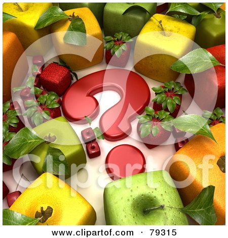 Royalty-Free (RF) Clipart Illustration of a Group Of 3d Cubic Genetically Modified Fruits Around A Red Question Mark - Version 3 by Frank Boston