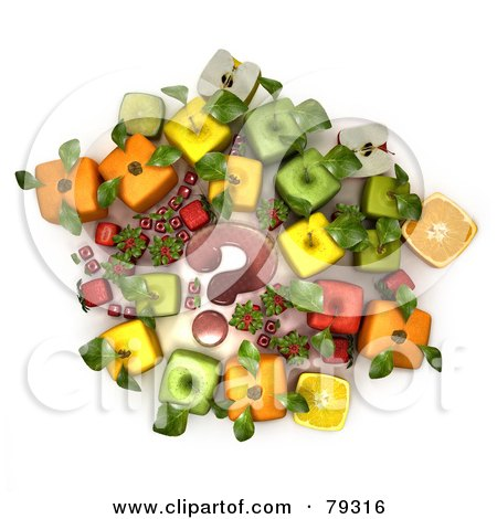 Royalty-Free (RF) Clipart Illustration of a Group Of 3d Cubic Genetically Modified Fruits Around A Red Question Mark - Version 2 by Frank Boston