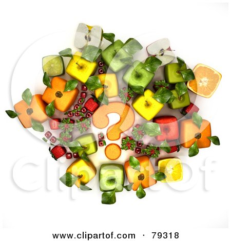 Royalty-Free (RF) Clipart Illustration of a Group Of 3d Cubic Genetically Modified Fruits Around An Orange Question Mark - Version 1 by Frank Boston