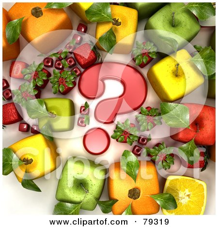 Royalty-Free (RF) Clipart Illustration of a Group Of 3d Cubic Genetically Modified Fruits Around A Red Question Mark - Version 1 by Frank Boston
