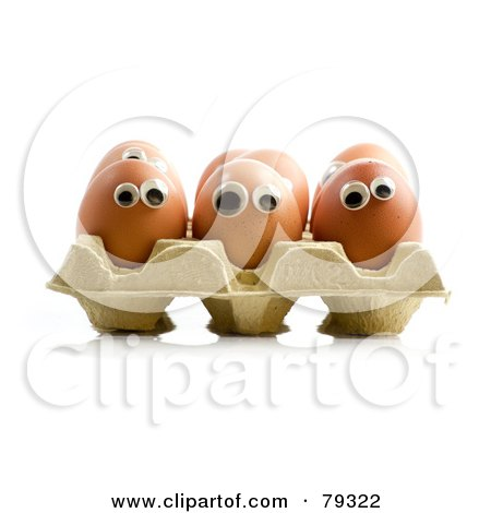 Royalty-Free (RF) Clipart Illustration of a 3d Egg Carton With Organic Egg Faces by Frank Boston