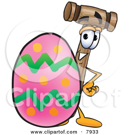 Clipart Picture of a Mallet Mascot Cartoon Character Standing Beside an Easter Egg by Toons4Biz